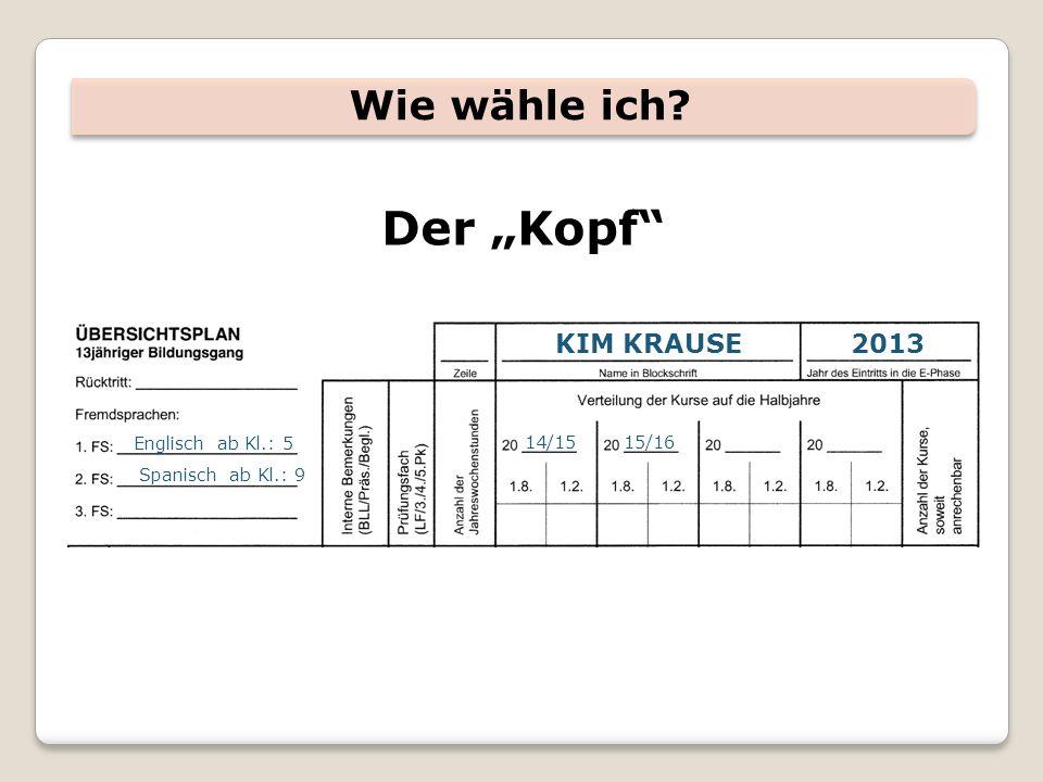 Wie wähle ich? Der Kopf KIM KRAUSE2013 Englisch ab Kl.: 5 Spanisch ab Kl.: 9 14/1515/16