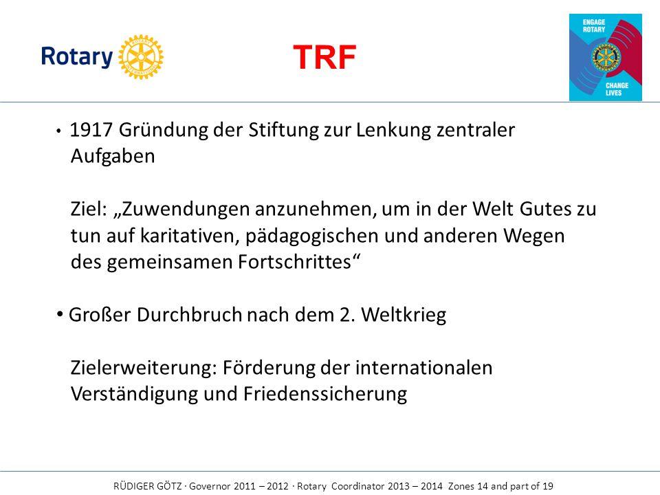 RÜDIGER GÖTZ · Governor 2011 – 2012 · Rotary Coordinator 2013 – 2014 Zones 14 and part of 19 TRF 1917 Gründung der Stiftung zur Lenkung zentraler Aufg