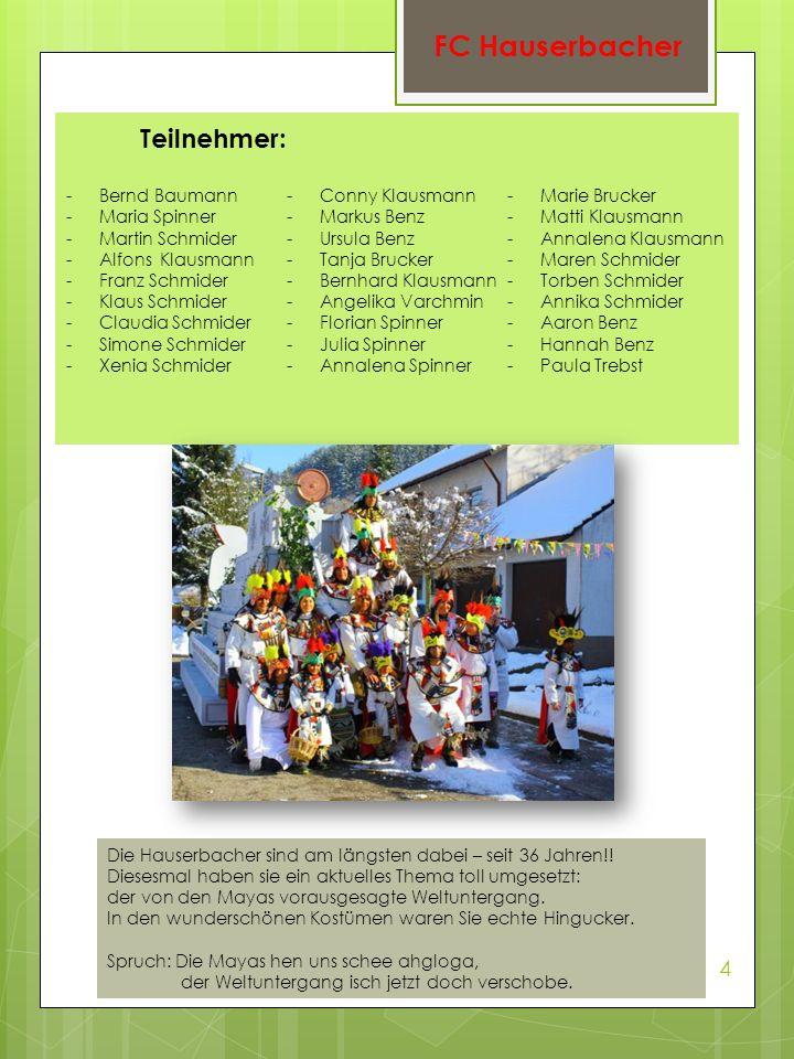 Teilnehmer: -Bernd Baumann -Maria Spinner -Martin Schmider -Alfons Klausmann -Franz Schmider -Klaus Schmider -Claudia Schmider -Simone Schmider -Xenia