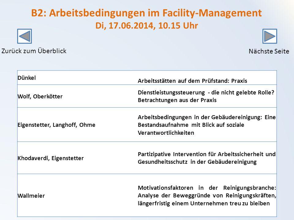 B2: Arbeitsbedingungen im Facility-Management Di, 17.06.2014, 10.15 Uhr Dünkel Arbeitsstätten auf dem Prüfstand: Praxis Wolf, Oberkötter Dienstleistungssteuerung - die nicht gelebte Rolle.