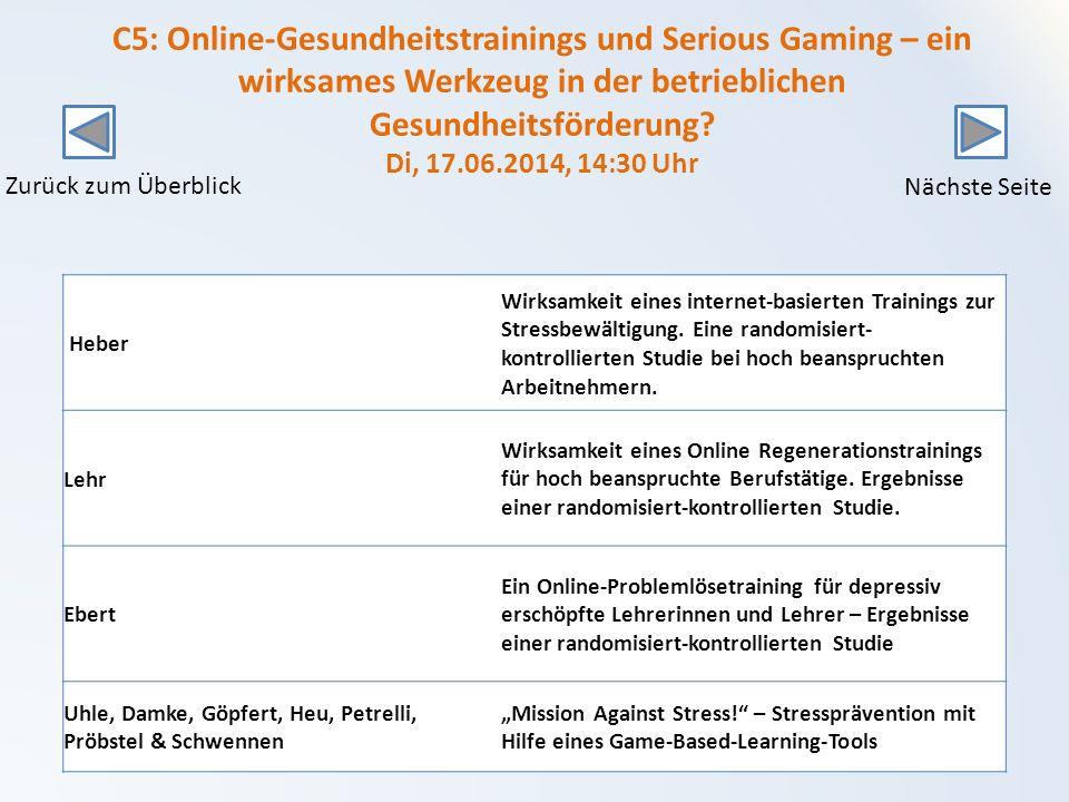 C5: Online-Gesundheitstrainings und Serious Gaming – ein wirksames Werkzeug in der betrieblichen Gesundheitsförderung.