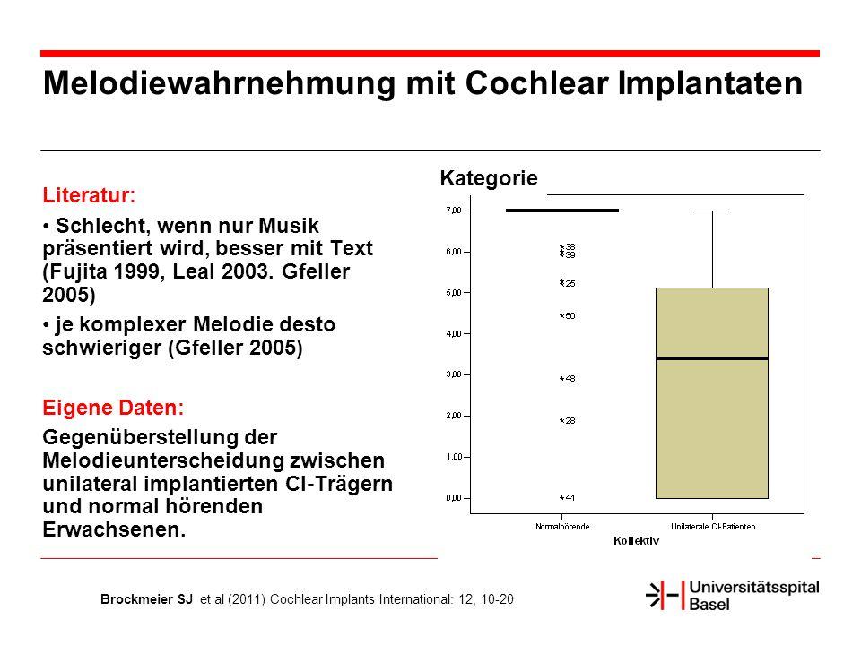 Melodiewahrnehmung mit Cochlear Implantaten Literatur: Schlecht, wenn nur Musik präsentiert wird, besser mit Text (Fujita 1999, Leal 2003.