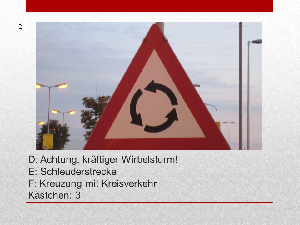 D: Achtung, kräftiger Wirbelsturm! E: Schleuderstrecke F: Kreuzung mit Kreisverkehr Kästchen: 3 2