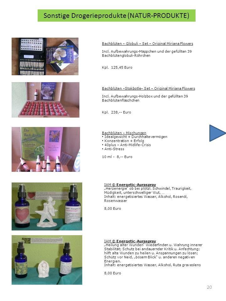 20 Sonstige Drogerieprodukte (NATUR-PRODUKTE) Bachblüten – Globuli – Set – Original Miriana Flowers Incl.