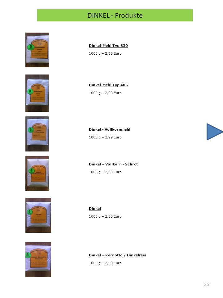 25 DINKEL - Produkte Dinkel-Mehl Typ 630 1000 g – 2,85 Euro Dinkel-Mehl Typ 405 1000 g – 2,99 Euro Dinkel - Vollkornmehl 1000 g – 2,99 Euro Dinkel – Vollkorn - Schrot 1000 g – 2,99 Euro Dinkel 1000 g – 2,85 Euro Dinkel – Kernotto / Dinkelreis 1000 g – 2,90 Euro