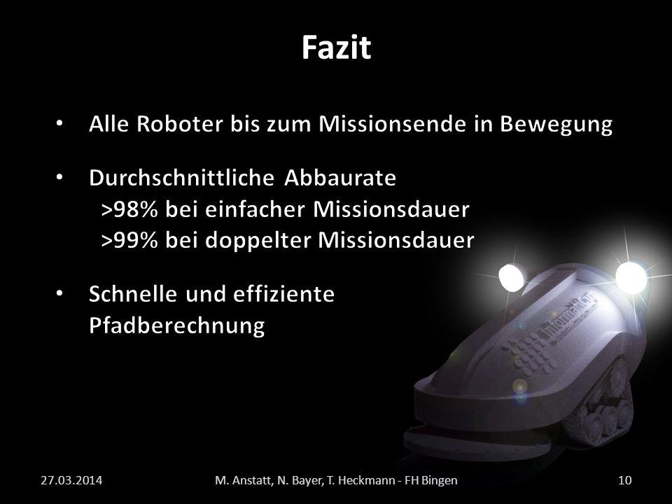 Fazit 27.03.2014M. Anstatt, N. Bayer, T. Heckmann - FH Bingen10