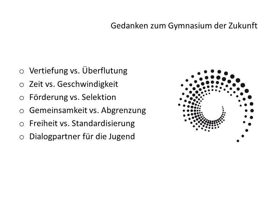 Gedanken zum Gymnasium der Zukunft o Vertiefung vs.