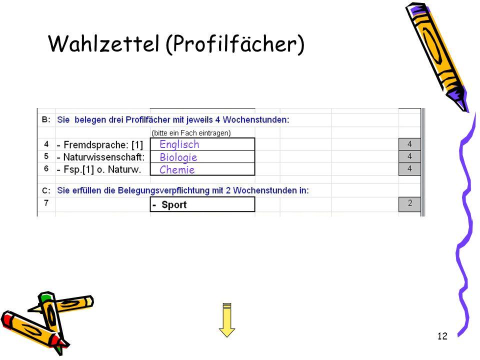 12 Wahlzettel (Profilfächer) Englisch Biologie Chemie