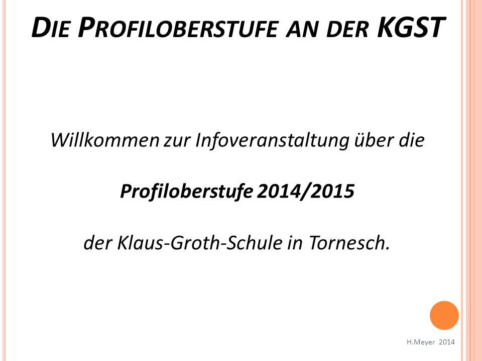 Willkommen zur Infoveranstaltung über die Profiloberstufe 2014/2015 der Klaus-Groth-Schule in Tornesch. D IE P ROFILOBERSTUFE AN DER KGST H.Meyer 2014
