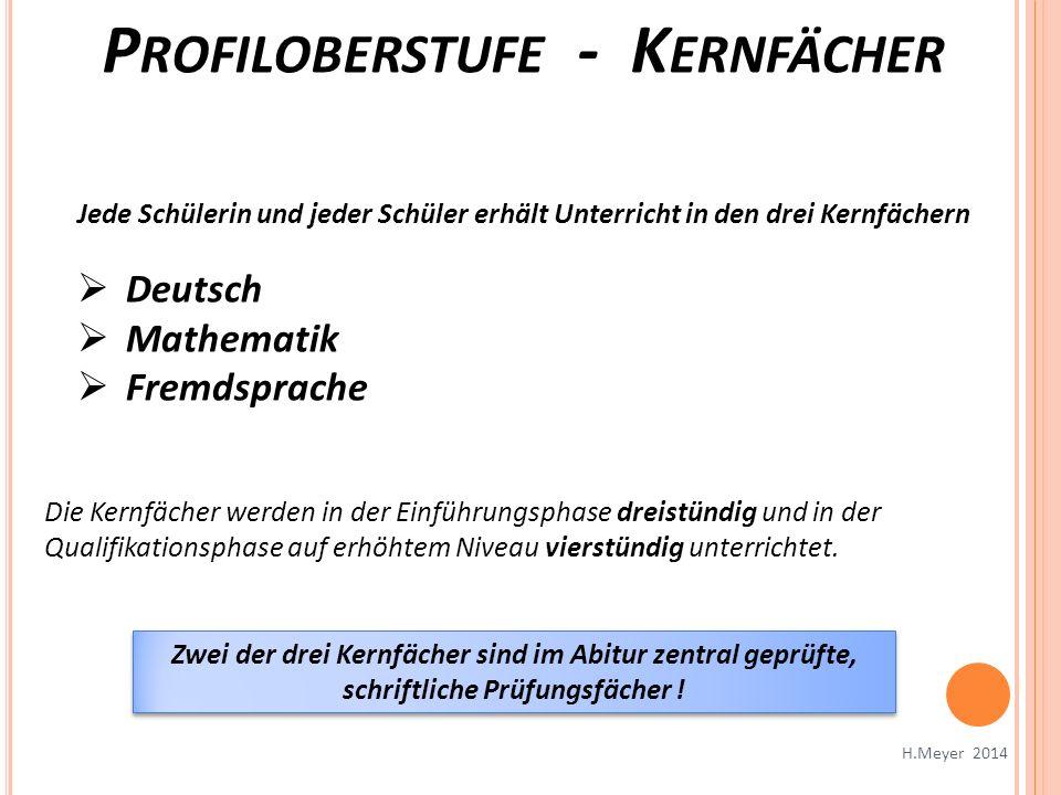 Jede Schülerin und jeder Schüler erhält Unterricht in den drei Kernfächern Deutsch Mathematik Fremdsprache Die Kernfächer werden in der Einführungspha