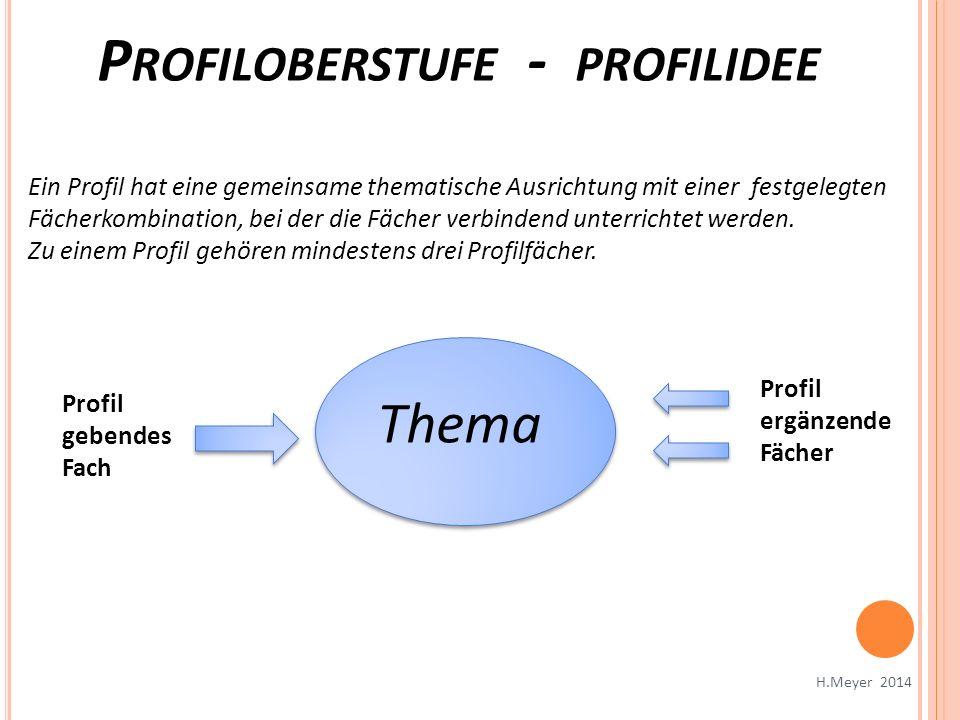 Thema Profil gebendes Fach Ein Profil hat eine gemeinsame thematische Ausrichtung mit einer festgelegten Fächerkombination, bei der die Fächer verbind