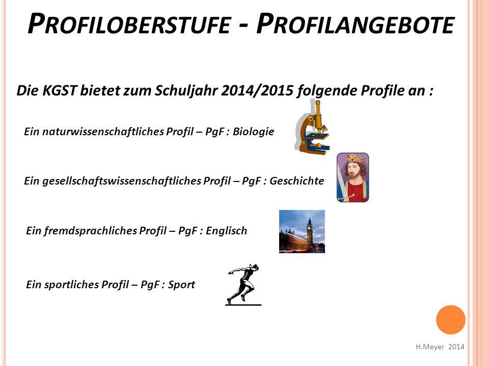 P ROFILOBERSTUFE - P ROFILANGEBOTE H.Meyer 2014 Die KGST bietet zum Schuljahr 2014/2015 folgende Profile an : Ein naturwissenschaftliches Profil – PgF