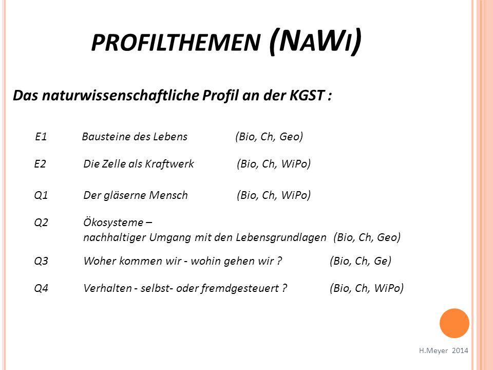 PROFILTHEMEN (N A W I ) H.Meyer 2014 Das naturwissenschaftliche Profil an der KGST : E1Bausteine des Lebens (Bio, Ch, Geo) E2Die Zelle als Kraftwerk (