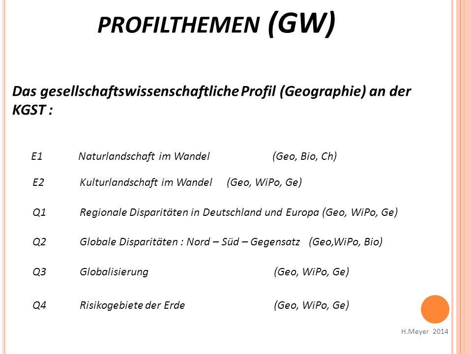 PROFILTHEMEN (GW) H.Meyer 2014 Das gesellschaftswissenschaftliche Profil (Geographie) an der KGST : E1Naturlandschaft im Wandel (Geo, Bio, Ch) E2Kultu