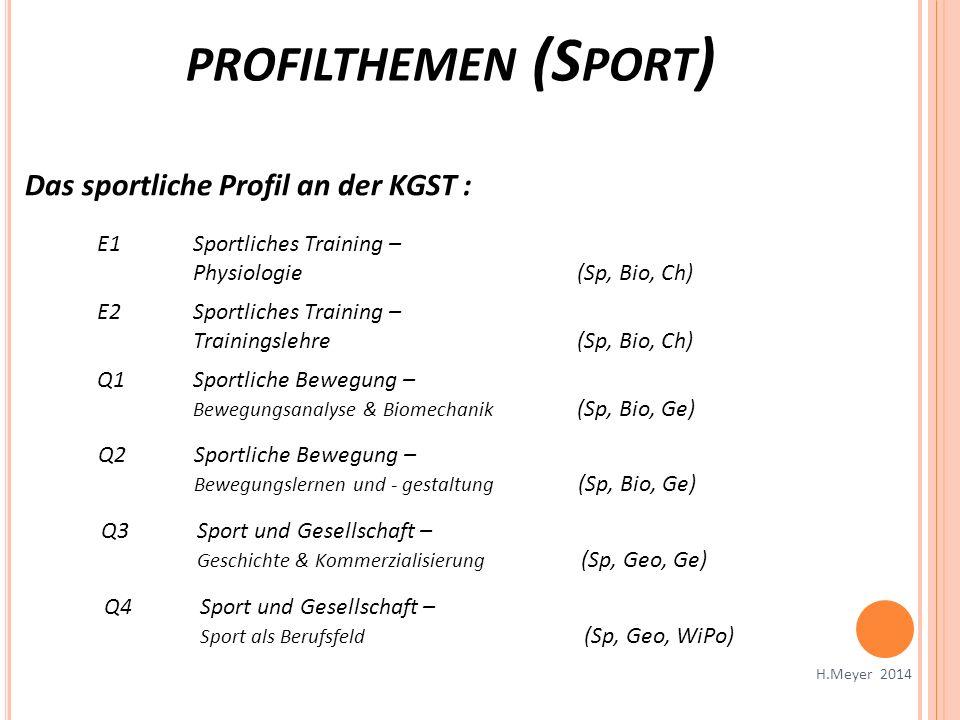 PROFILTHEMEN (S PORT ) H.Meyer 2014 Das sportliche Profil an der KGST : E1Sportliches Training – Physiologie (Sp, Bio, Ch) E2Sportliches Training – Tr
