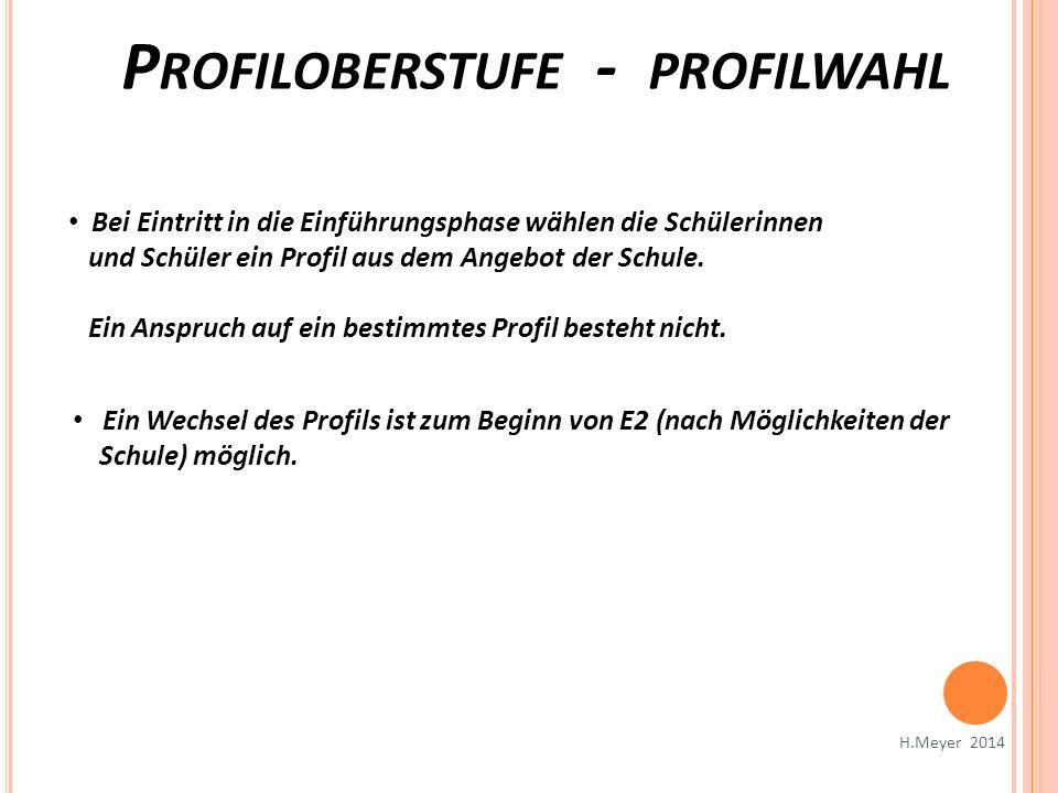 P ROFILOBERSTUFE - PROFILWAHL H.Meyer 2014 Bei Eintritt in die Einführungsphase wählen die Schülerinnen und Schüler ein Profil aus dem Angebot der Sch