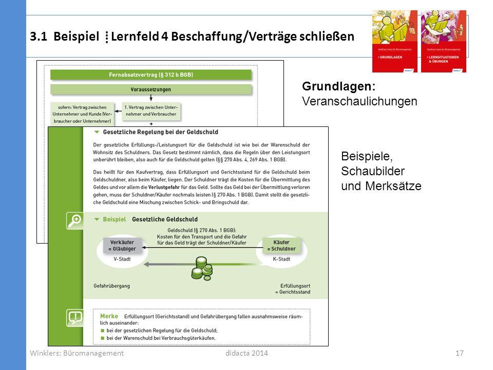 didacta 2014 3.1 Beispiel Lernfeld 4 Beschaffung/Verträge schließen 17Winklers: Büromanagement Grundlagen: Veranschaulichungen Beispiele, Schaubilder
