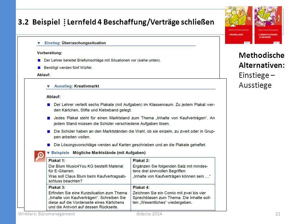 didacta 2014 Methodische Alternativen: Einstiege – Ausstiege 3.2 Beispiel Lernfeld 4 Beschaffung/Verträge schließen 21Winklers: Büromanagement