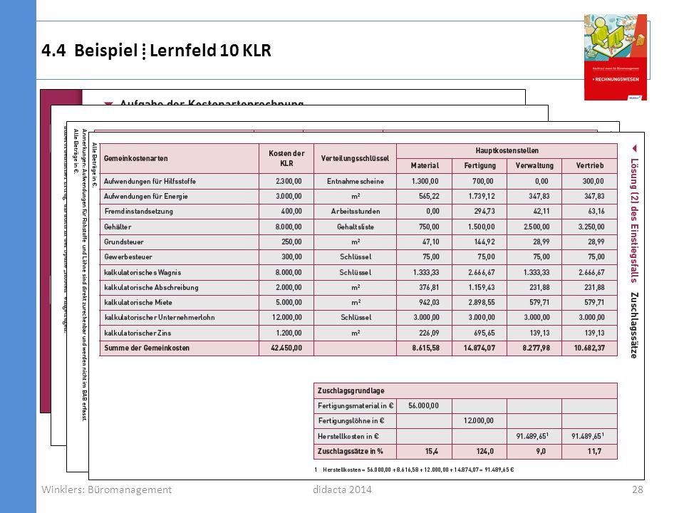 komplexer Einstiegsfall schrittweise Erarbeitung didacta 2014 4.4 Beispiel Lernfeld 10 KLR Winklers: Büromanagement28