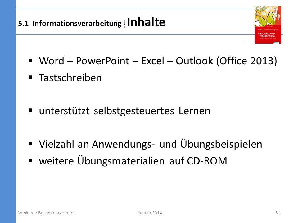 didacta 2014 5.1 Informationsverarbeitung Inhalte Word – PowerPoint – Excel – Outlook (Office 2013) Tastschreiben unterstützt selbstgesteuertes Lernen