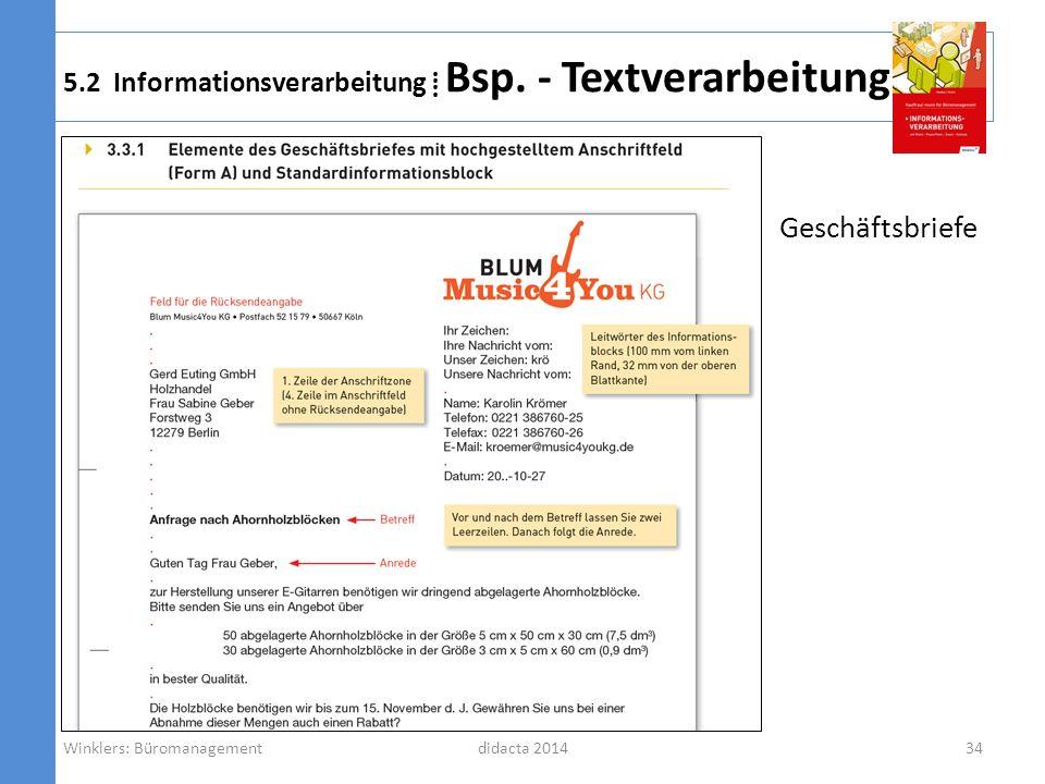 didacta 2014 5.2 Informationsverarbeitung Bsp. - Textverarbeitung Geschäftsbriefe Winklers: Büromanagement34