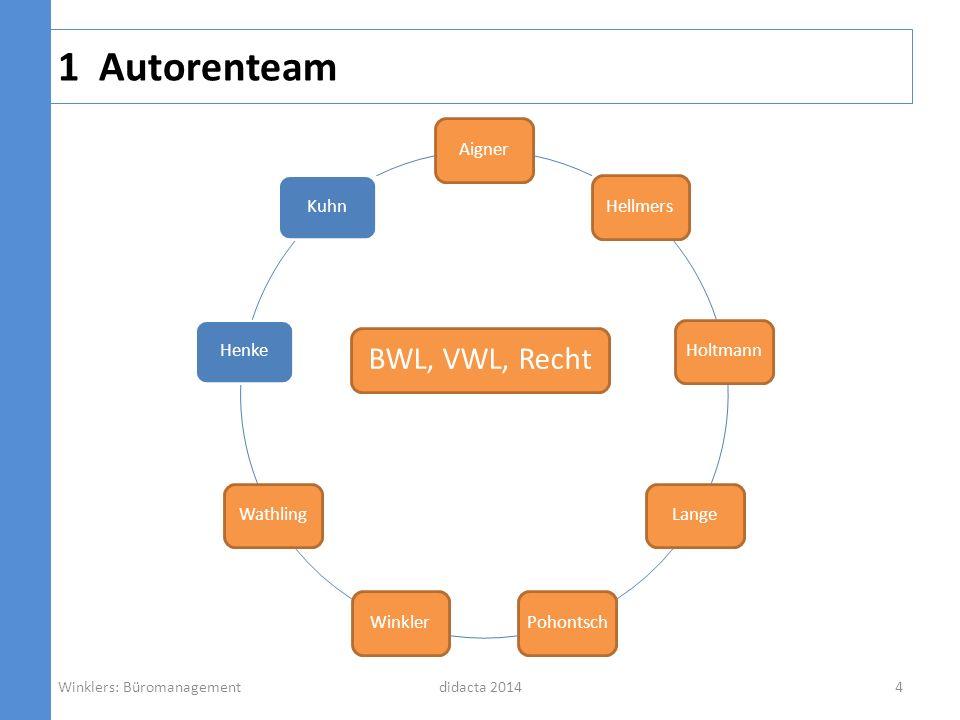 1 Autorenteam didacta 2014 AignerHellmersHoltmannLangePohontschWinklerWathlingHenkeKuhn BWL, VWL, Recht Winklers: Büromanagement4