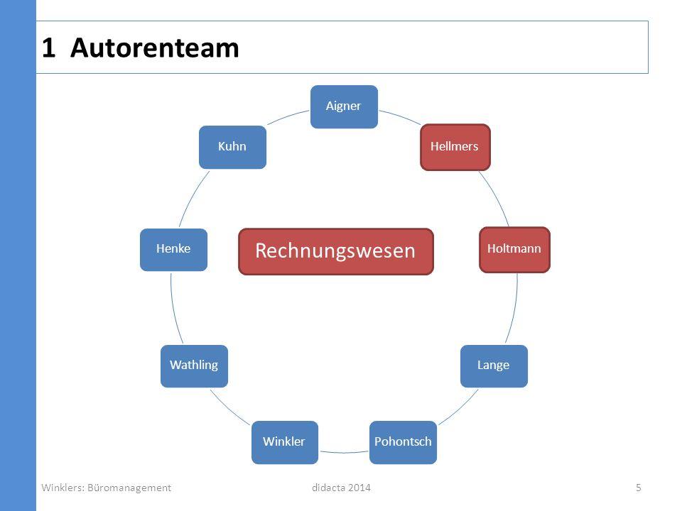 1 Autorenteam didacta 2014 AignerHellmersHoltmannLangePohontschWinklerWathlingHenkeKuhn Informations- verarbeitung Winklers: Büromanagement6
