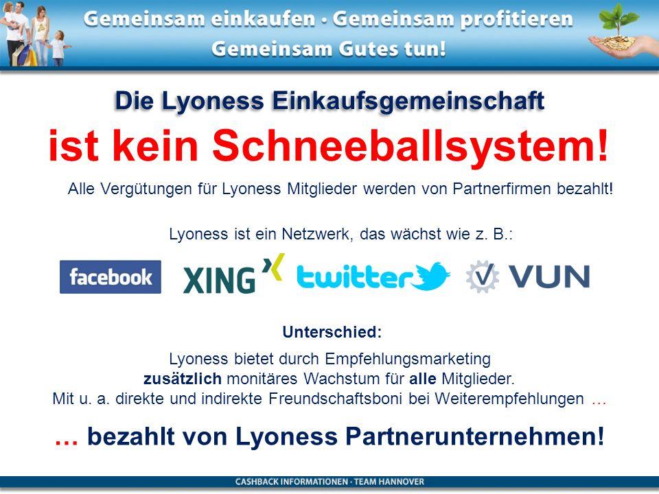 Die Lyoness Einkaufsgemeinschaft ist kein Schneeballsystem! Lyoness bietet durch Empfehlungsmarketing zusätzlich monitäres Wachstum für alle Mitgliede