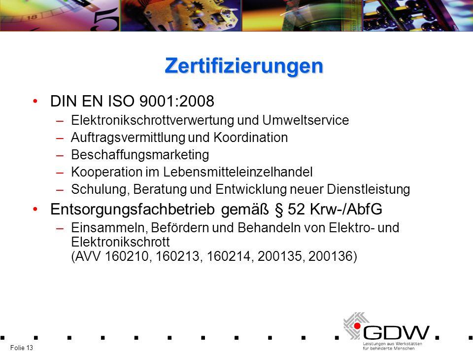 Folie 13 Zertifizierungen DIN EN ISO 9001:2008 –Elektronikschrottverwertung und Umweltservice –Auftragsvermittlung und Koordination –Beschaffungsmarke
