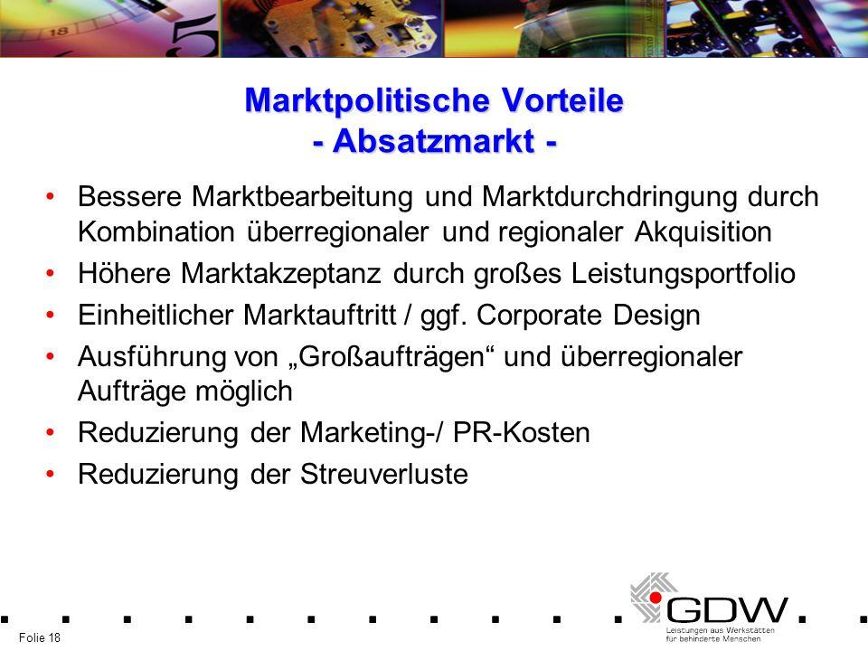 Folie 18 Marktpolitische Vorteile - Absatzmarkt - Bessere Marktbearbeitung und Marktdurchdringung durch Kombination überregionaler und regionaler Akqu