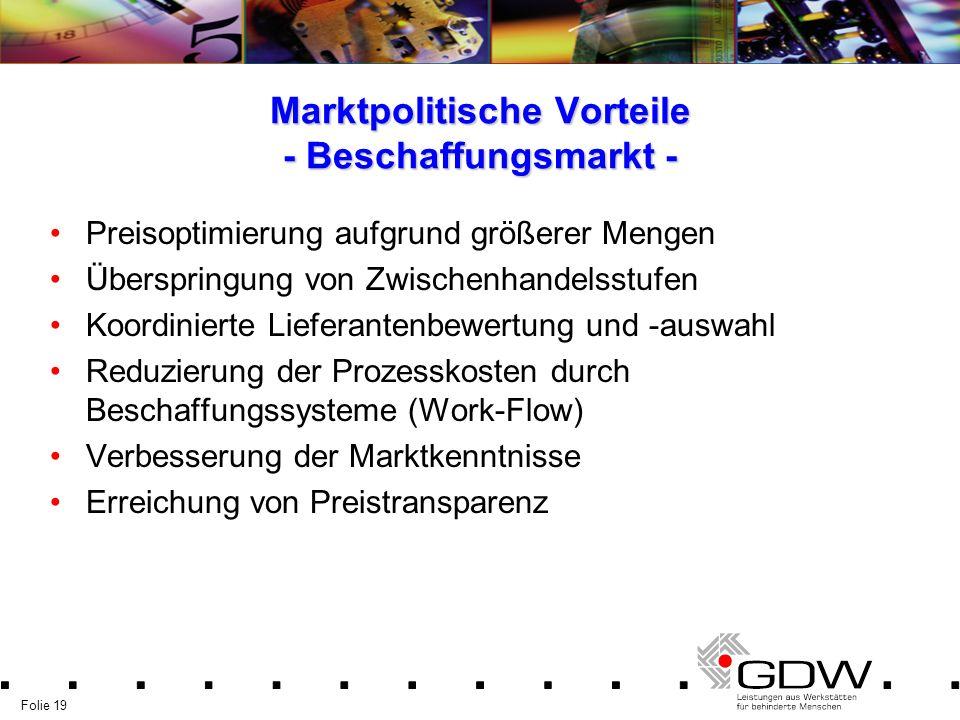Folie 19 Marktpolitische Vorteile - Beschaffungsmarkt - Preisoptimierung aufgrund größerer Mengen Überspringung von Zwischenhandelsstufen Koordinierte