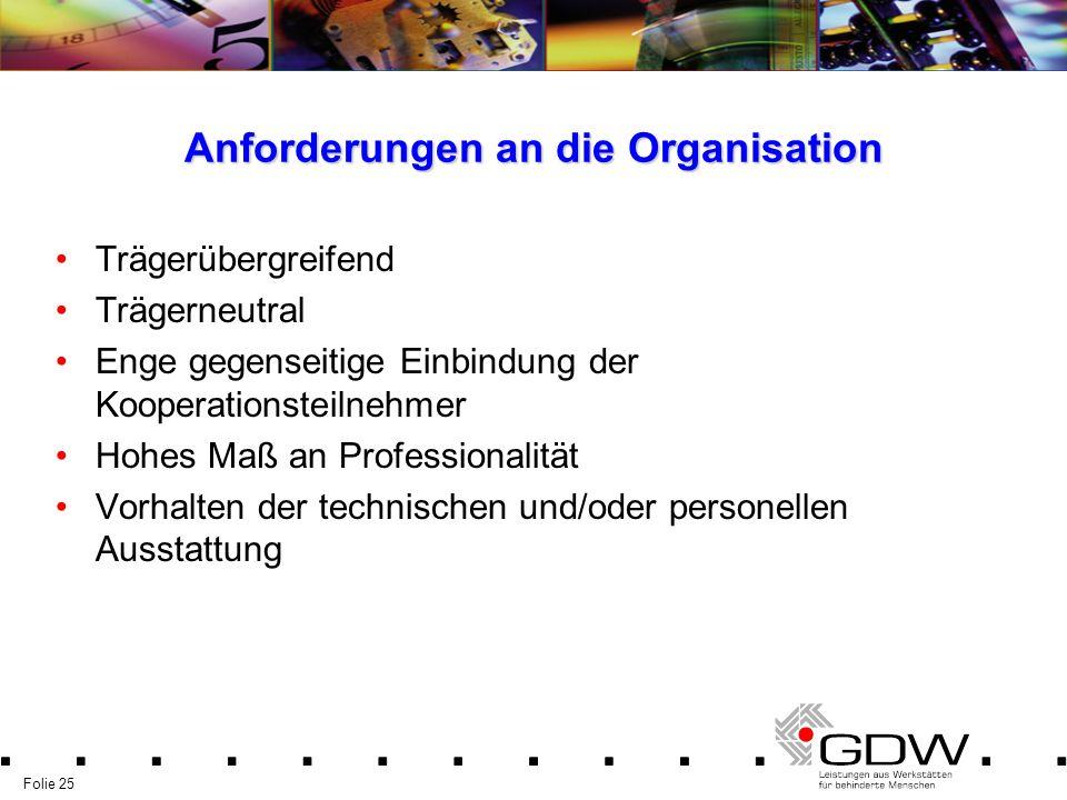 Folie 25 Anforderungen an die Organisation Trägerübergreifend Trägerneutral Enge gegenseitige Einbindung der Kooperationsteilnehmer Hohes Maß an Profe