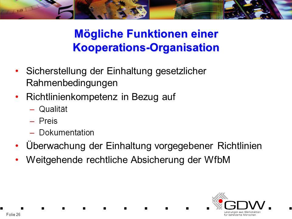 Folie 26 Mögliche Funktionen einer Kooperations-Organisation Sicherstellung der Einhaltung gesetzlicher Rahmenbedingungen Richtlinienkompetenz in Bezu