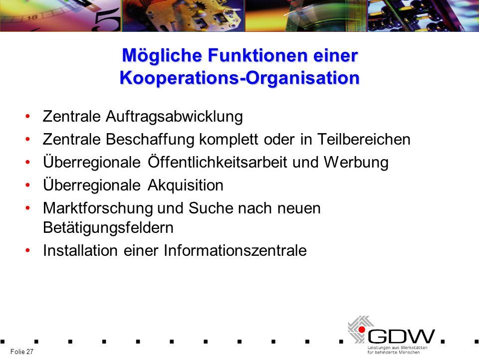 Folie 27 Mögliche Funktionen einer Kooperations-Organisation Zentrale Auftragsabwicklung Zentrale Beschaffung komplett oder in Teilbereichen Überregio