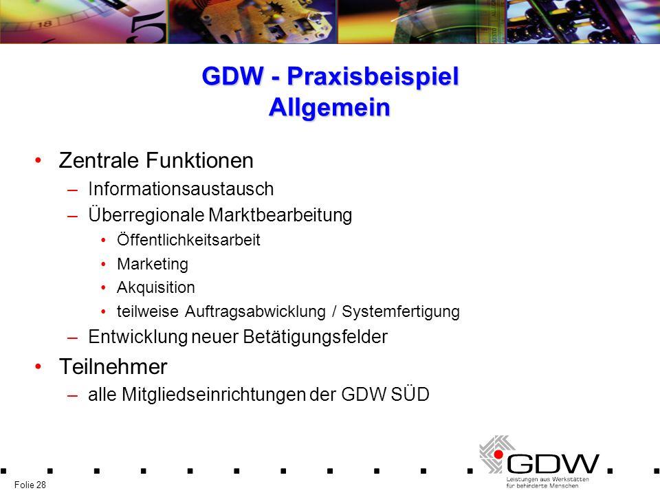Folie 28 GDW - Praxisbeispiel Allgemein Zentrale Funktionen –Informationsaustausch –Überregionale Marktbearbeitung Öffentlichkeitsarbeit Marketing Akq