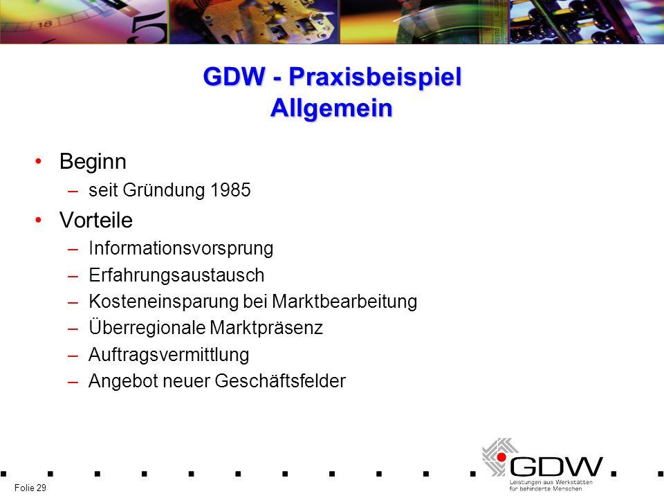 Folie 29 GDW - Praxisbeispiel Allgemein Beginn –seit Gründung 1985 Vorteile –Informationsvorsprung –Erfahrungsaustausch –Kosteneinsparung bei Marktbea