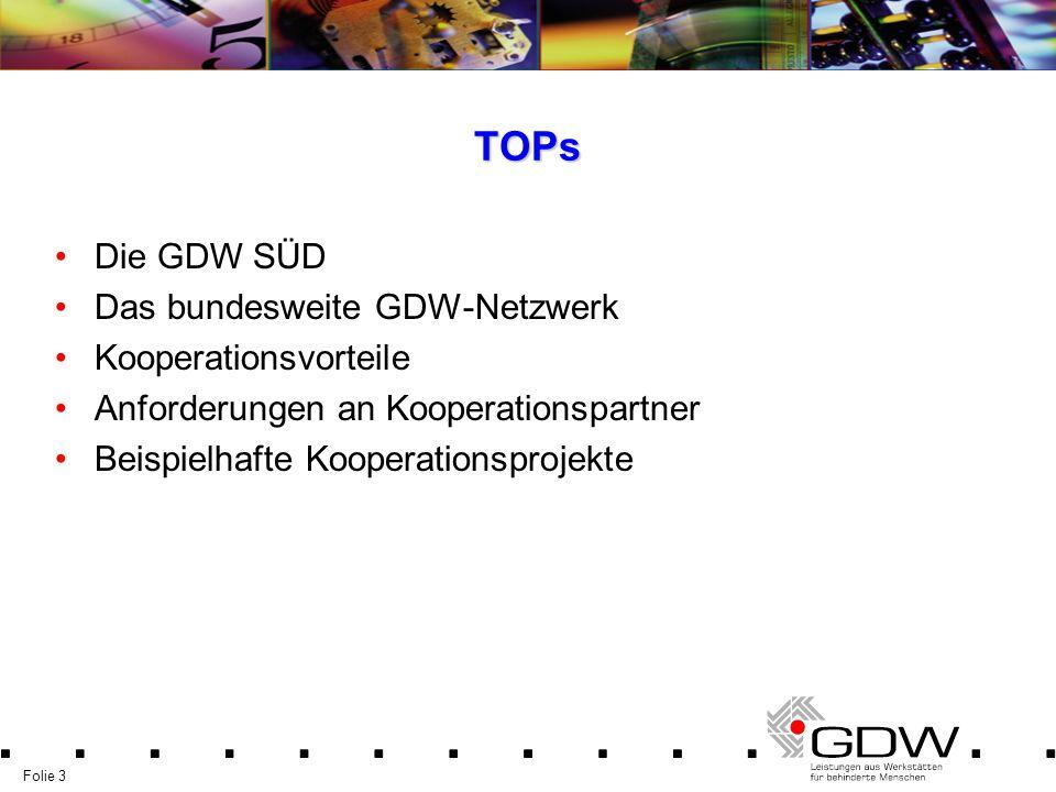 Folie 3 TOPs Die GDW SÜD Das bundesweite GDW-Netzwerk Kooperationsvorteile Anforderungen an Kooperationspartner Beispielhafte Kooperationsprojekte