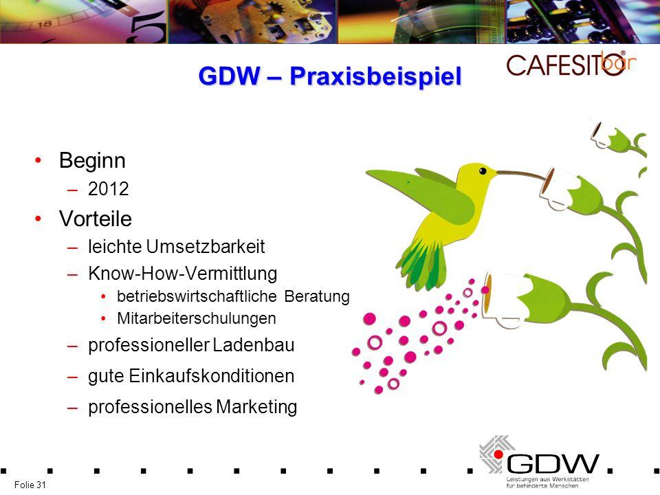 Folie 31 GDW – Praxisbeispiel Beginn –2012 Vorteile –leichte Umsetzbarkeit –Know-How-Vermittlung betriebswirtschaftliche Beratung Mitarbeiterschulunge