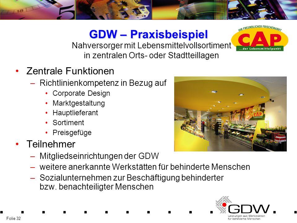 Folie 32 GDW – Praxisbeispiel Zentrale Funktionen –Richtlinienkompetenz in Bezug auf Corporate Design Marktgestaltung Hauptlieferant Sortiment Preisge