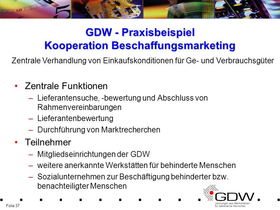 Folie 37 GDW - Praxisbeispiel Kooperation Beschaffungsmarketing Zentrale Funktionen –Lieferantensuche, -bewertung und Abschluss von Rahmenvereinbarung