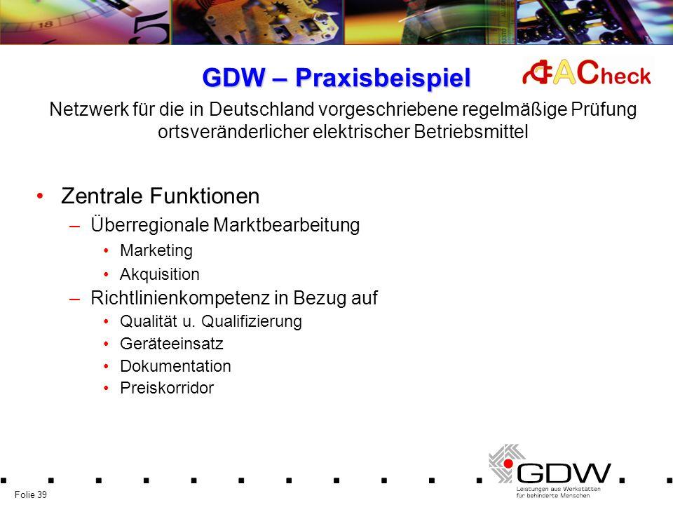 Folie 39 GDW – Praxisbeispiel Zentrale Funktionen –Überregionale Marktbearbeitung Marketing Akquisition –Richtlinienkompetenz in Bezug auf Qualität u.