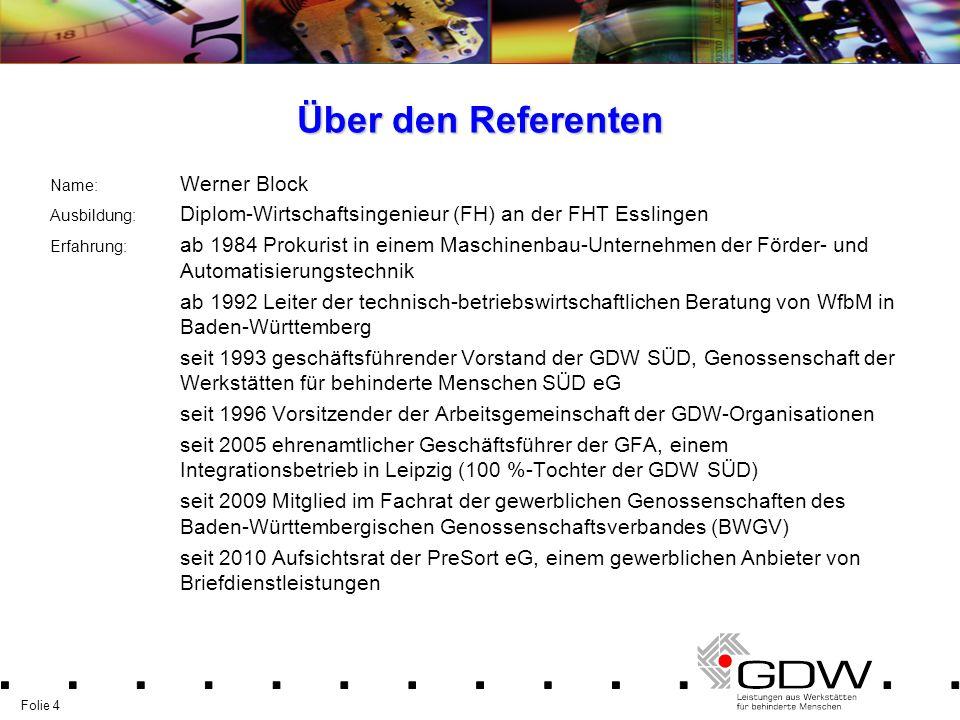 Folie 4 Über den Referenten Name: Werner Block Ausbildung: Diplom-Wirtschaftsingenieur (FH) an der FHT Esslingen Erfahrung: ab 1984 Prokurist in einem