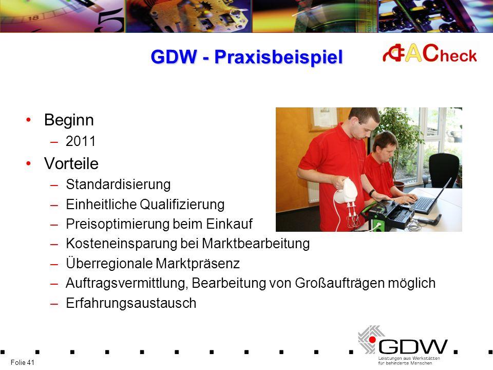 Folie 41 GDW - Praxisbeispiel Beginn –2011 Vorteile –Standardisierung –Einheitliche Qualifizierung –Preisoptimierung beim Einkauf –Kosteneinsparung be