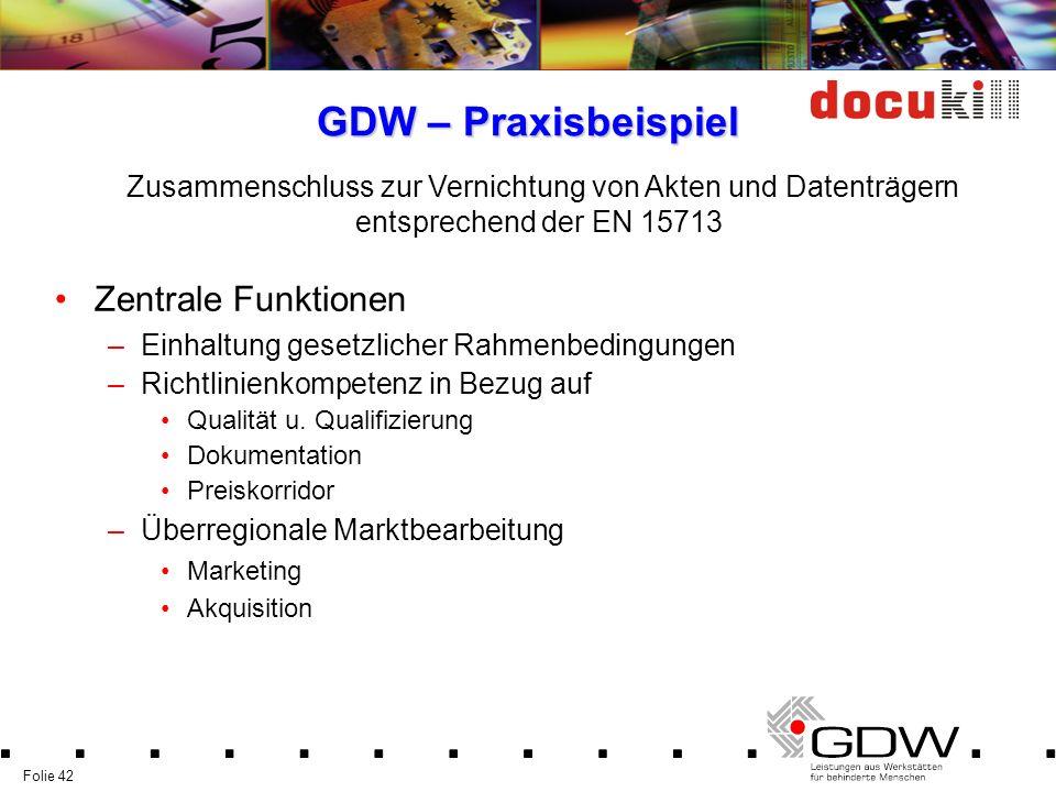Folie 42 GDW – Praxisbeispiel Zentrale Funktionen –Einhaltung gesetzlicher Rahmenbedingungen –Richtlinienkompetenz in Bezug auf Qualität u. Qualifizie