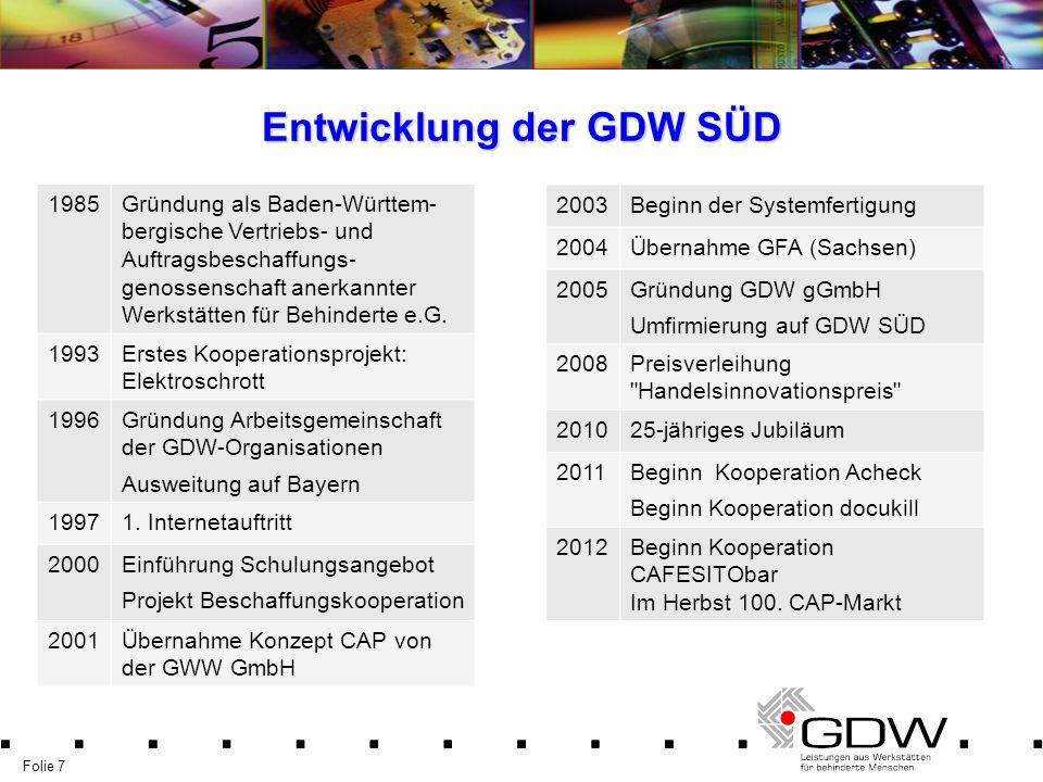 Folie 7 Entwicklung der GDW SÜD 1985Gründung als Baden-Württem- bergische Vertriebs- und Auftragsbeschaffungs- genossenschaft anerkannter Werkstätten