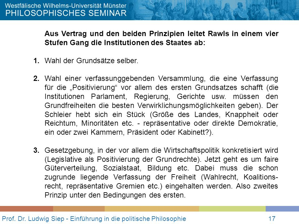 17 Prof. Dr. Ludwig Siep - Einführung in die politische Philosophie17 Aus Vertrag und den beiden Prinzipien leitet Rawls in einem vier Stufen Gang die