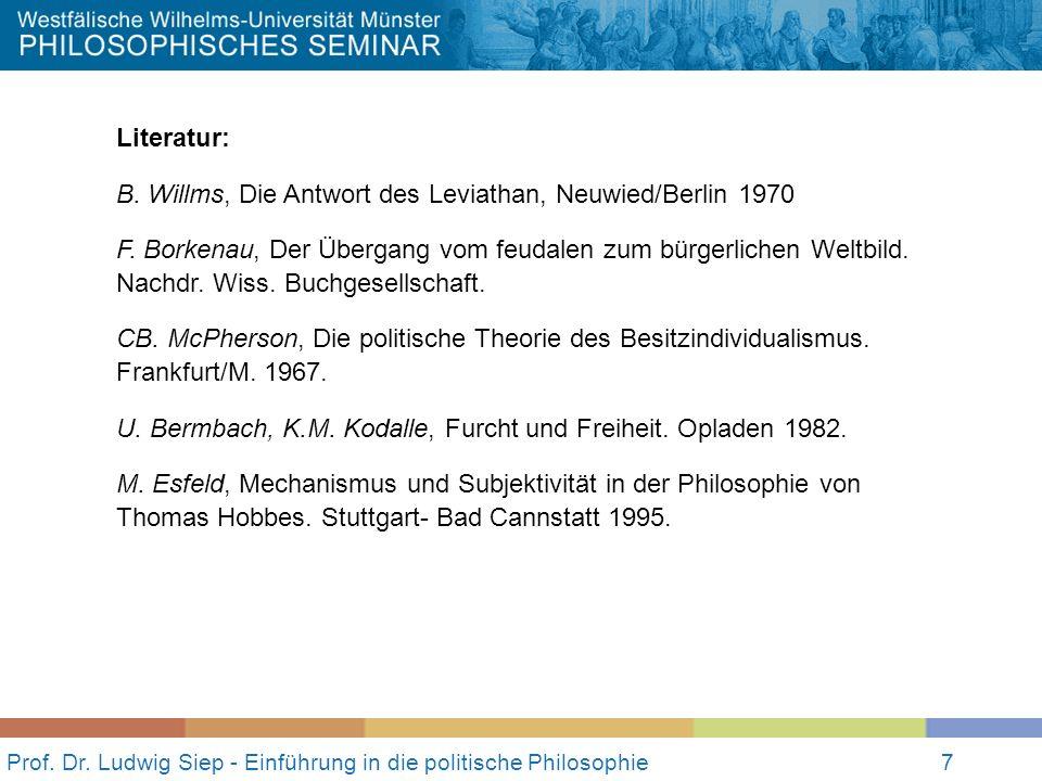 7 Prof. Dr. Ludwig Siep - Einführung in die politische Philosophie7 Literatur: B. Willms, Die Antwort des Leviathan, Neuwied/Berlin 1970 F. Borkenau,