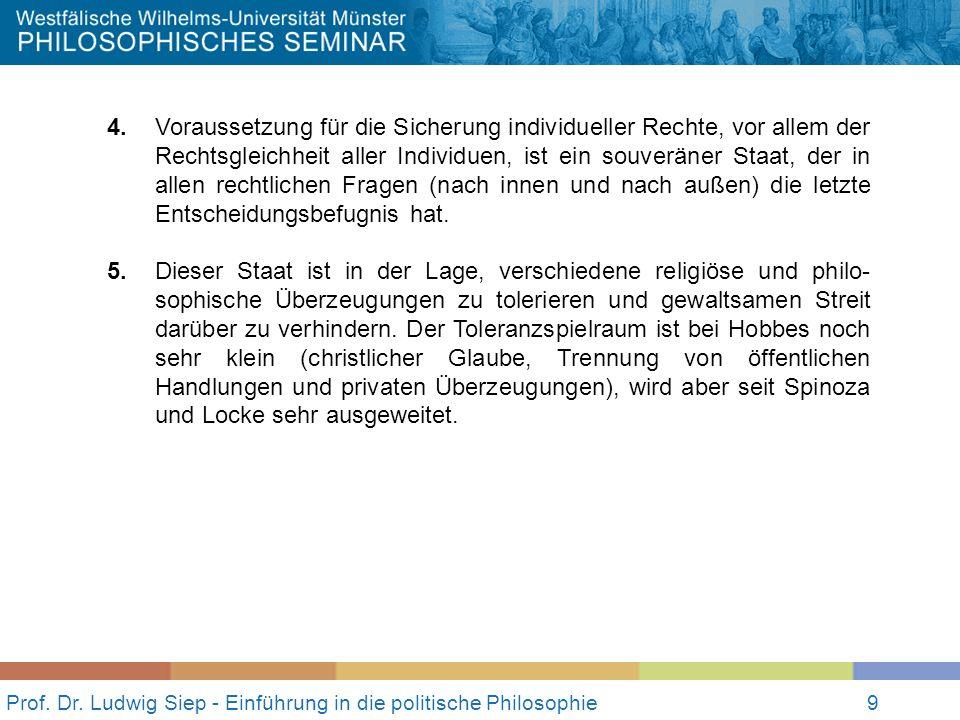 9 Prof. Dr. Ludwig Siep - Einführung in die politische Philosophie9 4. Voraussetzung für die Sicherung individueller Rechte, vor allem der Rechtsgleic