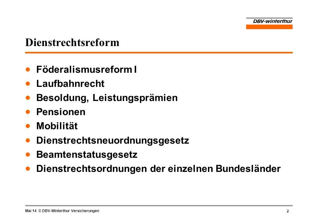 2 Mai 14 © DBV-Winterthur Versicherungen Dienstrechtsreform Föderalismusreform I Laufbahnrecht Besoldung, Leistungsprämien Pensionen Mobilität Dienstr