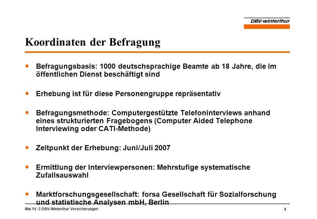 5 Mai 14 © DBV-Winterthur Versicherungen Themen der Befragung Wie bewerten die Beamten die geplanten Maßnahmen bei der Dienstrechtsreform.